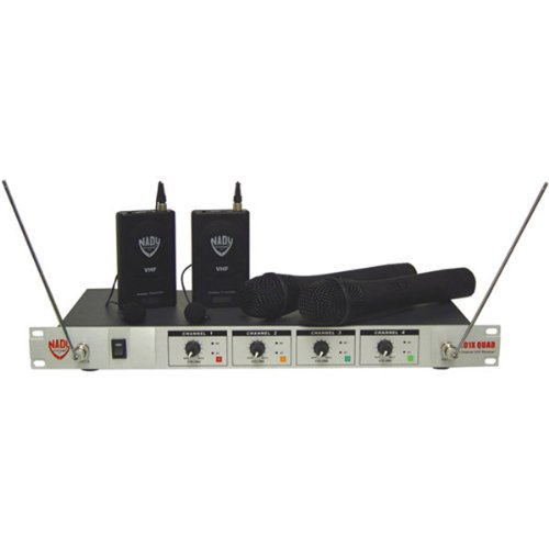 Brand New Nady 401-Quad Four-Channel Professional Vhf Wireless Lavalier Microphone System - Frequencies E4/F/H/E - 173.800Mhz/203.400Mhz/191.300Mhz/215.20