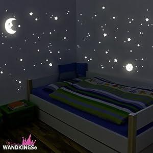 """Adhesivos de pared luminosos de Wandkings """"Sol, luna y estrellas Juego XL"""" 114 adhesivos en 2 hojas A4, fluorescentes y brillantes en la oscuridad de Wandkings.de - Bebe Hogar"""