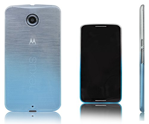 Xcessor Transition Color Flexible TPU Case for Motorola Google Nexus 6. With Gradient Silk Thread Texture. Transparent / Light Blue