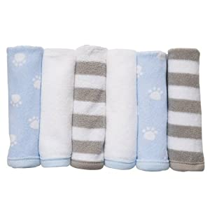 Carter's Baby 6 Washcloths Blue Color Theme Set 10