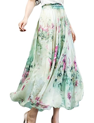 Tkria Donne Abito Vintage Fiore Lunga Vita Gonna Maxi Chiffon Gonna Vestito