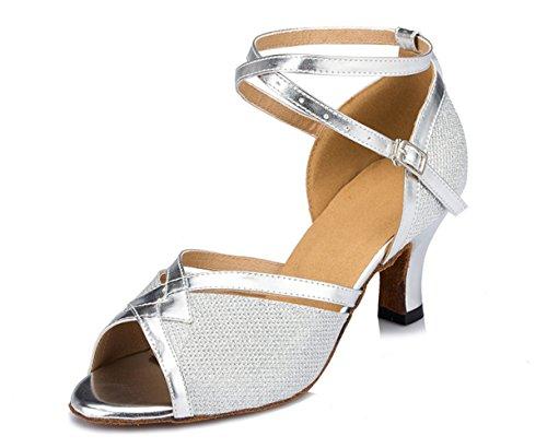 Tda Cm1014 Womens 2.5 Inch Heel Glitter Silver Pu Leather Salsa Tango Ballroom Latin Party Dance Sandals 7 M Us