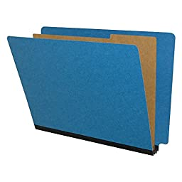 Blue Classification Folders, End Tab, Pressboard, 2 Dividers, Legal Size, 10/Box
