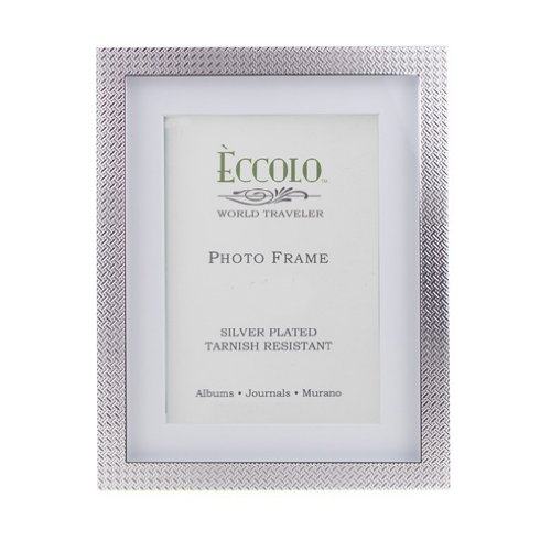 Eccolo World Traveler Dots and Dashes Silver Plated Frame, Holds a 4 by 6-Inch Photo