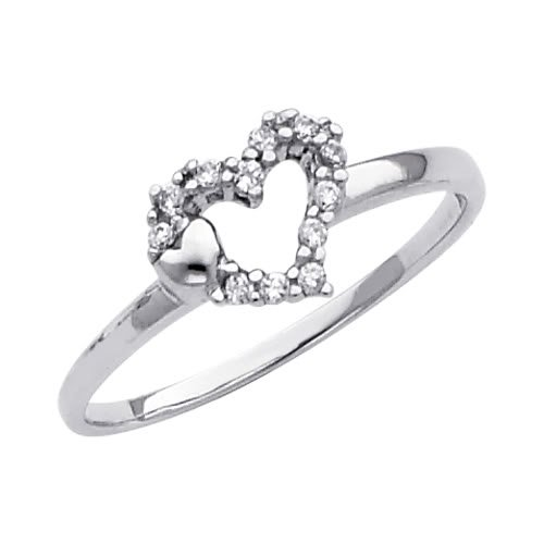 14K White Gold Heart Solitaire CZ Cubic Zirconia Promise Ring Band - Size 8.5