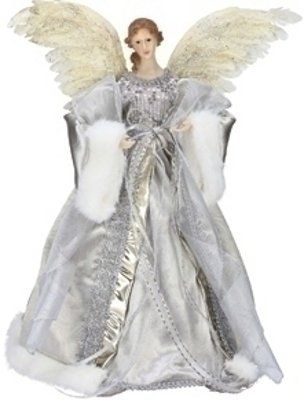 Roman Silver Feather Wings Angel Christmas Tree Topper