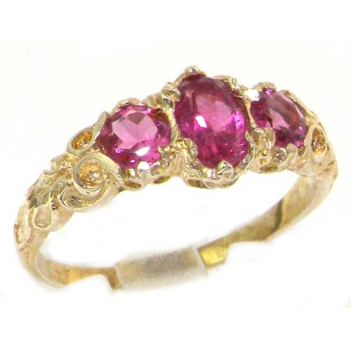 9K Yellow Gold Luxury Vibrant Pink Tourmaline Eternity Trilogy Band Ring - Size 12 - Finger Sizes 5 to 12 Available - Suitable as an Anniversary ring, Engagement ring, Eternity ring, or Promise ring