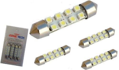 "Zone Tech 4Pcs 42Mm 8-Smd 1.72"" 12V Festoon Dome Light Led Bulbs 211-2 212-2 569 578 - White"