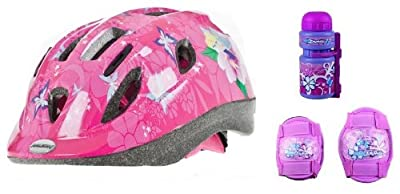 Raleigh Girls Bike Cycle Helmet (48 - 54 cm) with Knee and Elbow Pads, Bottle from Raleigh
