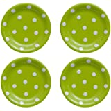 Terramoto Ceramic Polka Dots 6-Inch Accent Dish, White on Moss Green, Set of 4