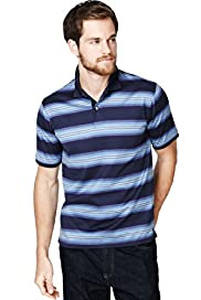 "2"" Longer Pure Cotton Striped Piqué Polo Shirt"