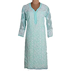 Light Blue Georgette Chikan Kurta