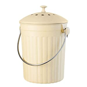 Oggi Countertop Compost Pail with Charcoal Filter, Made from Bamboo Fiber