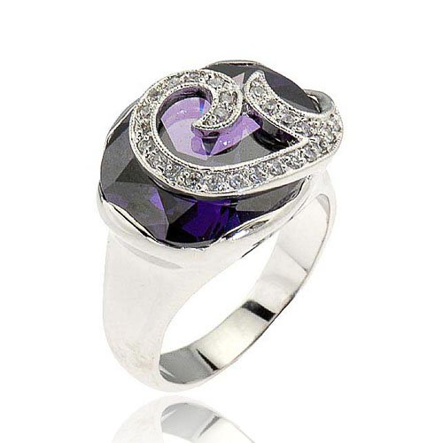 7 Carats Oval Cut Amethyst Simulated Cubic Zirconia Women Anniversary Ring Size 7