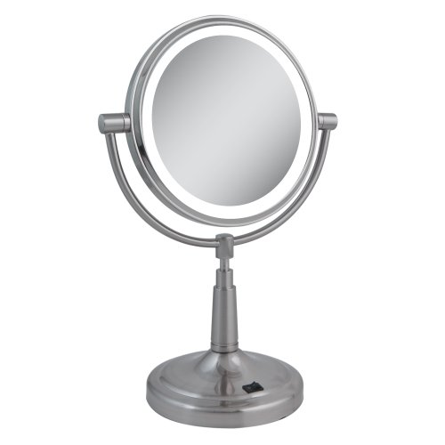 Zadro 10X Mag Next Generation Led Cordless Double Sided Round Vanity Mirror, 9-Inch, Satin Nickel Finish