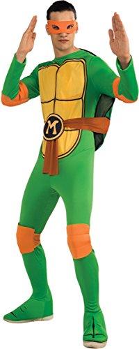[Nickelodeon Men's Tmnt Michelangelo Costume One Size] (Ninja Turtle Halloween Costume Homemade)