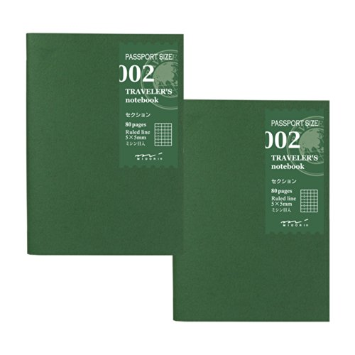 トラベラーズノート traveler's notebook パスポートサイズ リフィル 2冊パック 方眼 セクション 002 14314006