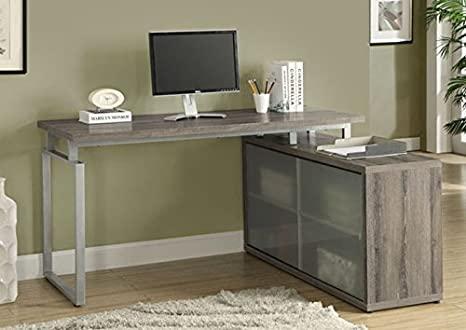 "DARK TAUPE RECLAIMED-LOOK ""L"" SHAPED DESK / FROSTED GLASS (SIZE: 60L X 48W X 31H)"