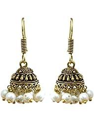 Jaipur Fashion White Pearl Jhumki Earring For Womens Gold Plating Gift For Girlfriend