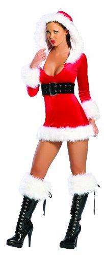 [J. Valentine Women's Christmas Hooded Velvet Mini Dress, Red/White, Medium/Large] (Slutty Christmas Costumes)