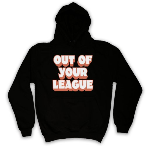 My Icon Men's Out Of Your League Hipster Slogan Adults Hoodie, Black, 2XL