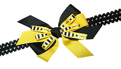 Webb Direct 2U Baby-Girls Bumble Bee Striped Hair Bow On Stretch Headband (8006) front-836503