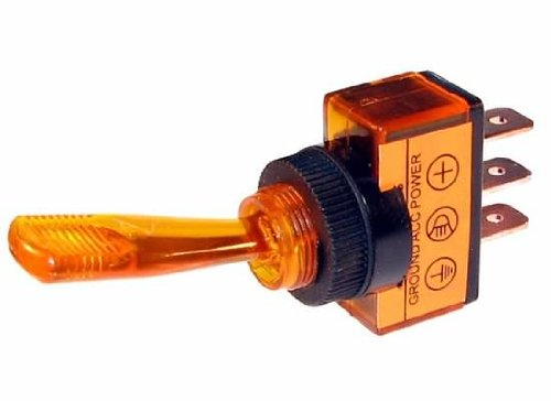 Jt&T Products (2617J) - 20 Amp @ 12 Volt - S.P.S.T., Illuminated On/Off Toggle Switch, Amber