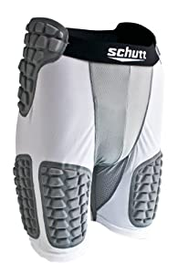 Schutt Youth Protech Padded Compression Shorts, White/Grey, Small