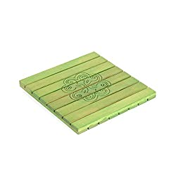 Style My Way Hand Carved Steam Beach Wood Green Square Trivet - 8in X 8in