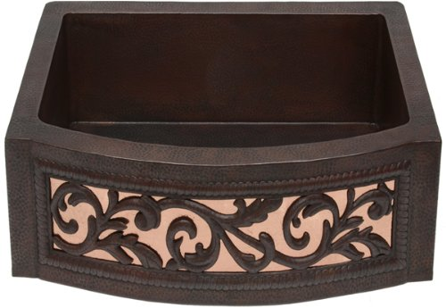 FHA25 inch Hammermarc Copper Kitchen Sink Rounded Front Apron Front w/Flat Ends, Scroll Design in Shiny Copper