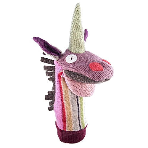 Cate-and-Levi-12-Handmade-Magic-Unicorn-Hand-Puppet-Premium-Reclaimed-Wool-Colors-Will-Vary