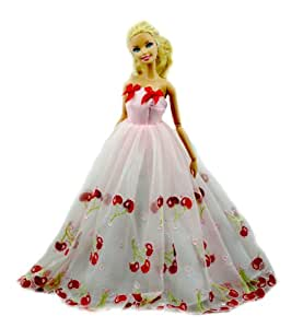 Amazon.com: Barbie Doll Clothes Pink Red Cherry Princess Dress Gown