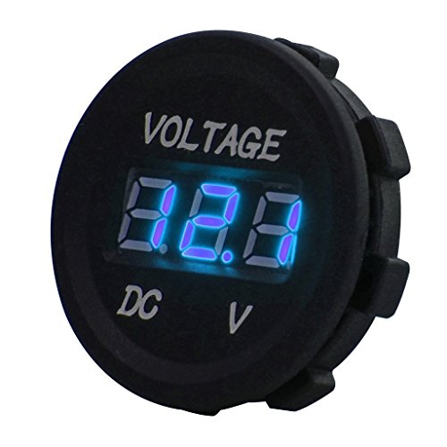 Huicocy-DC-12V-LED-Digital-Display-Voltmeter-Waterproof-for-Boat-Marine-Vehicle-Motorcycle-Truck-ATV-UTV-Car-Camper-Caravan-Blue-Digital-Round-Panel-LedDisplayVoltmeter