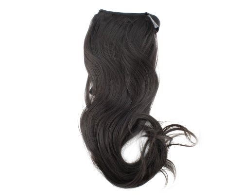 Black Lady Clip on Ponytail Hair Wigs Wave Pony Extension Hairpiece 40CM 1B