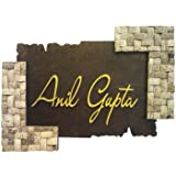 Butterfly Homes Wooden And Coconut Shell Name Plate - (21 X 15.5 X 1.5, Brown)