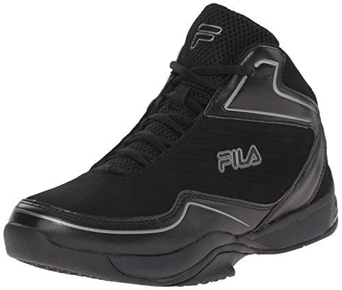 Fila Men's Import Basketball Shoe, Black/Black/Dark Silver, 13 M US