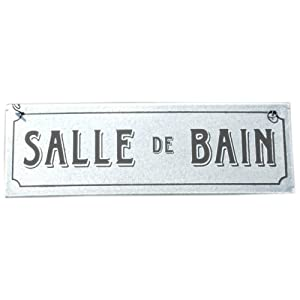 Salle de bain french style sign in silver bathroom for Salle de bain door sign