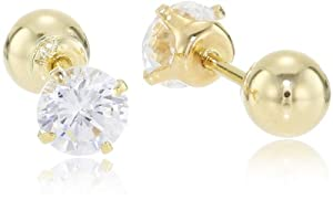 14k Yellow Gold Reversible Cubic Zirconia Stud Earrings
