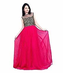 Sanjana Design Women's Georgette western green gown ( KS7286_Free Size_Pink)