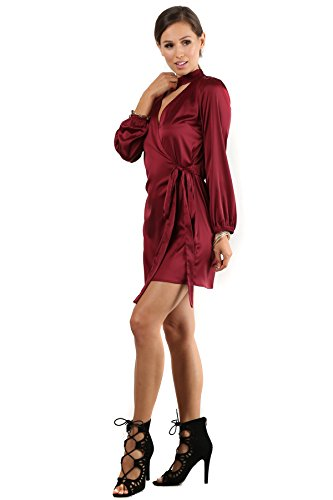 Yukiko - Burgundy Satin Wrap Mock Neck Choker Waist Tie Long Sleeve Dress Large