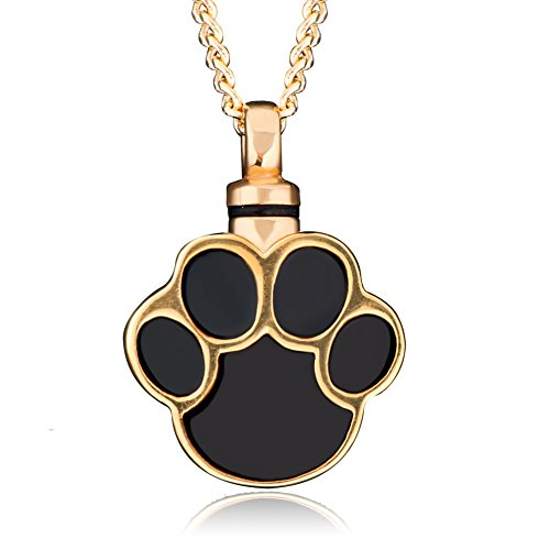 Pet Urn Necklace Pet Dog/Cat Paw Cremation Keepsake Memorial Necklace Ashes Holder Pendant (Urn Necklaces For Dog Ashes compare prices)