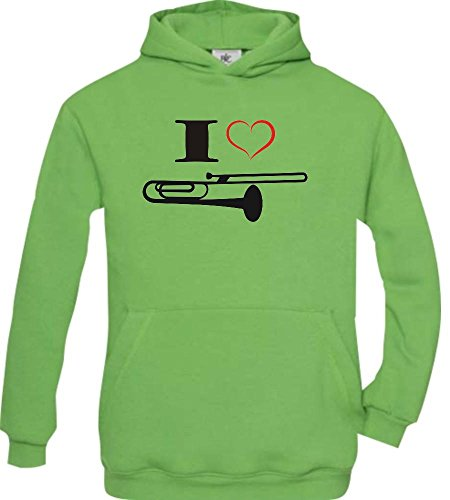 Shirtstown-Kinder-Kapuzenpullover-Musik-I-love-Posaune-Blassinstrument