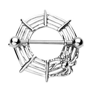 Stunning Silver Nipple Shield SpiderWeb Piercing Jewelry