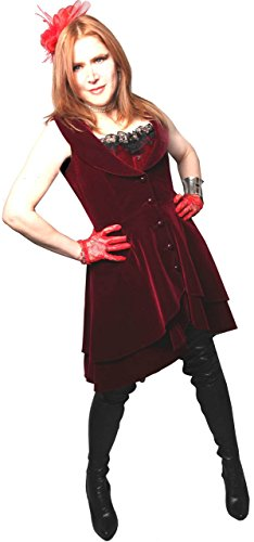 Wine Red - Velvet Tailored Flared Victorian Steampunk Gothic Dress Frock-Coat Waistcoat Sizes 8