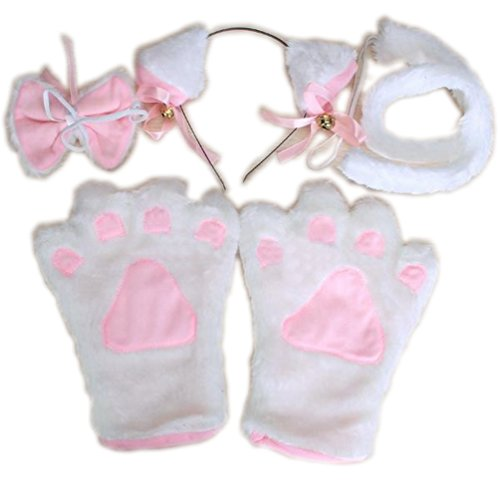 Cute Girls White Kitty Cat Costume Cosplay Paw Gloves Costume Party