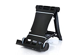Black Universal Cute Portable and Adjustable Desktop Tablet Cell Phone Stand Holder Compatible with Apple iPad Air/4/3, iPad Mini/Mini Retina, iPhone 6 / 6 Plus / 5/5S/5C/4S, Samsung Galaxy Tab 2 Tab 3 Note 8.0 Note 10.1, Gal