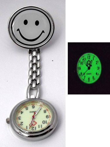 Nurses Luminous White Smiley Fob Pocket Watch. Gift Boxed. Clip Fastening