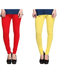 Leggings Free Size Cotton Lycra Churidar Leggings - Pack Of 2 Of Red & Yellow Colour By SMEXY