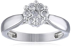 Women's 14k White Gold Engagement Ring (1/2 cttw I-J Color, I1-I2 Clarity), Size 5