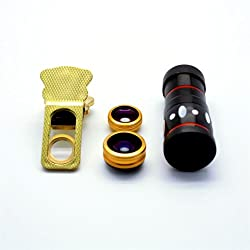 UNIVERSAL 4 IN 1 MOBILE LENS KIT- 10X ZOOM LENS, FISH EYE LENS, MACRO LENS WITH CLIP ON